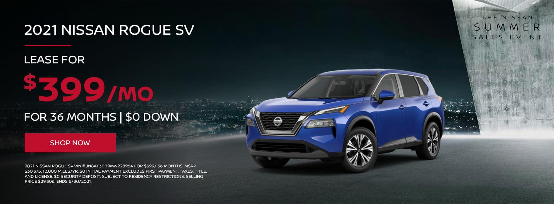 2021 Nissan Rogue SV, Lease for $399/month for 36 months. $0 Down!