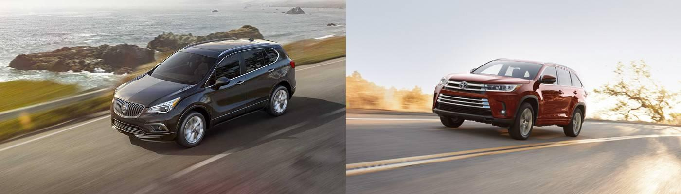 2017 Buick Envision Exterior vs 2017 Toyota Highlander Exterior