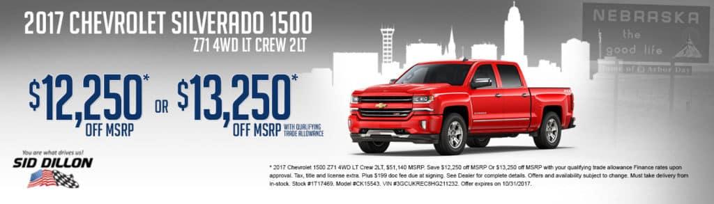 2017 Chevrolet 1500 Z71 4WD LT Crew 2LT