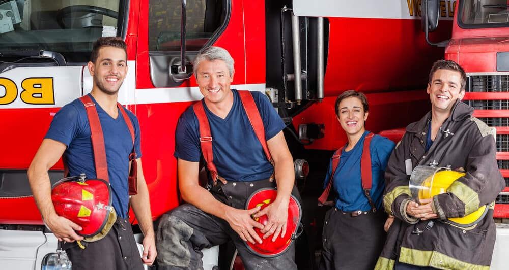 Team Of Happy Firefighters