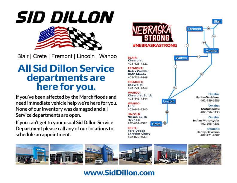 Sid Dillon Service Centers are open #nebraskastrong