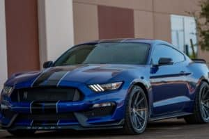 collision shop wahoo blue mustang