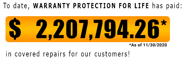 Warranty Protection For Life has paid out $2,207,794.26 as of Nov-30-2020