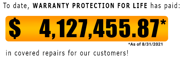 Warranty Protection For Life has paid out over $4 million in claims as of August 2021