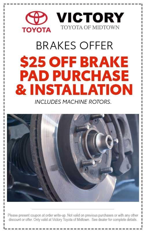 Brakes - $25 off brake pad purchase & installation