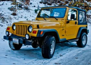 Jeep Wrangler in the Snow