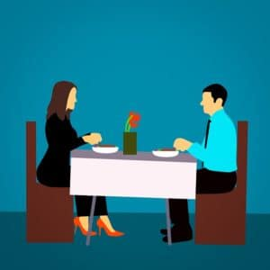 two seated for a romantic dinner